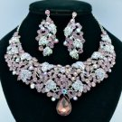 Silver Tone Leaf Necklace Earring Set W/ Purple Rhinestone Crystals 02624