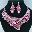 Silver Ton Leaf Flower Necklace Earring Set W/ Fuchsia Rhinestone Crystals 02622