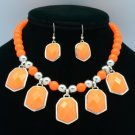 Trendy Dangle Orange Acrylic Resin Bead Necklace Earring Sets 54643