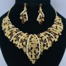 Gold Tone Brown Flower Necklace Earring Set W/ Rhinestone Crystals 02554