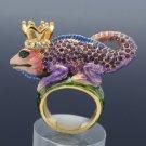 Purlpe Swarovski Crystals Crown Chameleon Gecko Lizard Cocktail Ring Size 7#