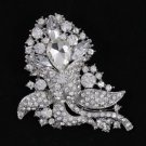"Rhinestone Crystals Wedding Clear Flower Brooch Broach Pin 3.1"" 4226"