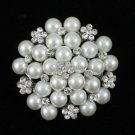 "1.8"" Faux Pearl Flower Brooch Pin W/ Swarovski Crystals Wedding Exquisite 16103"
