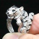 High Quality Animal Tiger Cocktail Ring 7# W/ Clear Swarovski Crystals SN2903R-3