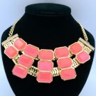 Gold Tone Fashion Resin Necklace Pendant W/ Pink Acrylic