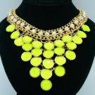 Gold Tone Fashion Ball Resin Necklace Pendant W/ Olivine Acrylic