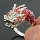 Silver Tone Cute Animal Dragon Cocktail Ring Sz 6# w/ Red Swarovski Crystals