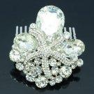 Drop Clear Rhinestone Crystals Cute Starfish Hair Comb For Wedding Bridal