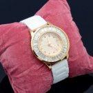White Ceramic Band Quartz Wristwatch Watch W Rhinestone Crystal WT00451