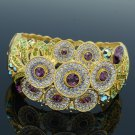 High Quality Flower Bracelet Bangle Cuff W/ Purple Swarovski Crystals SKCA1747