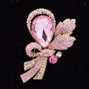 """2.7"""" Pretty Pink Flower Brooch Broach Pin W/ Rhinestone Crystals 8805982"""