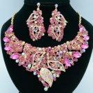 Rhinestone Crystals Popular Fuchsia Leaf Flower Necklace Earring Sets 02646