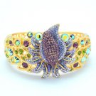 Swarovski Crystals High-Quality Purple Flower Bracelet Bangle W/ Gold Tone