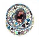 "Fashion Multicolor Rhinestone Crystals Round Flower Brooch Pin 3.0"""
