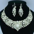 Brilliant Wedding Flower Necklace Earring Set W/ Clear Rhinestone Crystals DX001