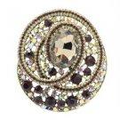 "Charming Round Flower Brooch Pin 3.0"" W/ Brown Rhinestone Crystals"