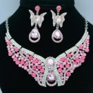 Rhinestone Crystals Pink Scalewing Butterfly Necklace Earring Jewelry Sets