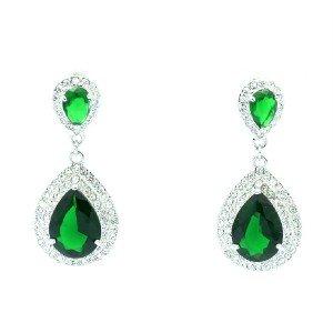 Pierced Green Zircon Teardrop Earring W/ Rhinestone Crystals 10006-GRE