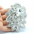 """3.7"""" Bridal Floral Flower Hair Comb W/ Rhinestone Crystals For Wedding 4055"""