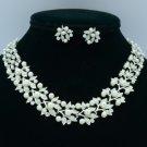 White Imitation Pearl Leaf Necklace Earring Set W/ Swarovski Crystals Wedding