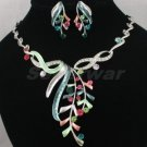 High Quality Multicolor Leaf Necklace Earring Set W/ Swarovski Crystals 880401