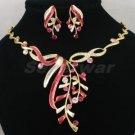 High Quality Red Leaf Necklace Earring Set W/ Swarovski Crystals 880501