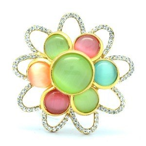 "Swarovski Crystals Cute Flower Brooch Broach Pin 1.5"" w/ Multicolor Opal 175901"