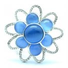 """Swarovski Crystals Cute Flower Brooch Broach Pin 1.5"""" w/ Blue Opal 175701"""