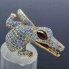 Vintage Style Crocodile Cocktail Ring Size 8# W/ Blue Swarovski Crystal SR2068-3