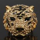 Swarovski Crystals Pretty Gold Tone Brown Tiger Cocktail Ring Size 7# SR1618