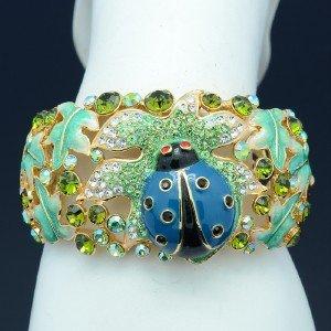 Swarovski Crystals Animal Blue LadyBug Bracelet Bangle Cuff