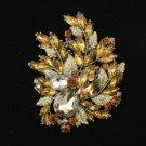 "Vintage Style Brown Flower Brooch Broach Pin 4.1"" W/ Rhinestone Crystals 4672"