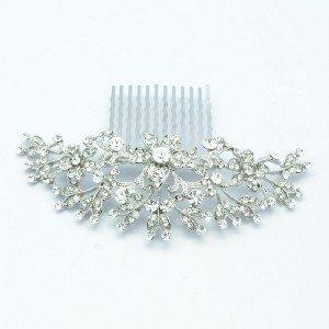 Princess Wedding Bride Clear Flower Hair Comb w/ Swarovski Crystals 189RJK
