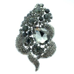 "New Black Floral Flower Brooch Broach Pin 3.5"" W/ Gray Rhinestone Crystals 6023"