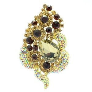 "New Floral Flower Brooch Broach Pin 3.5"" W/ Topaz Rhinestone Crystals 6023"