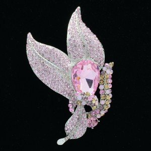 "New Pretty 2 Leaf Pin Brooch 4.3"" Pink Rhinestone Crystal Pendant 6018"