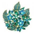 """New Emerald Floral Flower Brooch Broach Pin 2.9"""" W/ Rhinestone Crystals 6029"""