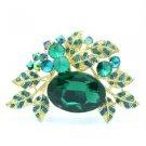 """Vintage Style Multi Leaf Brooch Broach Pin 2.6"""" Emerald Rhinestone Crystals 6049"""