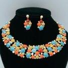 Swarovski Crystal Vogue Multicolor Enamel Flower Necklace Earring Sets JNA2328-1