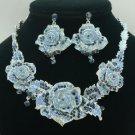 Silver Tone Fancy Blue Rose Flower Necklace Earring Set W/ Swarovski Crystal