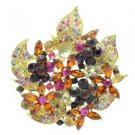 "New Multi Color Floral Flower Brooch Broach Pin 2.9"" W/ Rhinestone Crystals 6029"