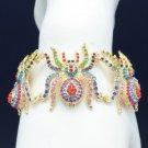 Gold Tone Mix Swarovski Crystal 4 Tarantula Spider Bracelet Bangle For Halloween