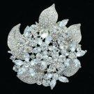 """New Clear Floral Flower Brooch Broach Pin 2.9"""" W/ Rhinestone Crystals 6029"""