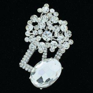 "New Bridal Flower Pendant Brooch Broach Pin 2.8"" Clear Rhinestone Crystals 6051"