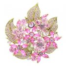 "New Pink Floral Flower Brooch Broach Pin 2.9"" W/ Rhinestone Crystals 6029"