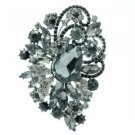 "Chic Drop Black Flower Leaf Brooch Pin 3.5"" Rhinestone Crystals 6075"