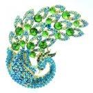 "New Vintage Peacock Bird Brooch Pin 3.7"" w/ Green Rhinestone Crystals 6021"