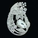 "Silver Tone Rhinestone Crystals Clear Leaf Flower Brooch Pin 3.3"" Wedding 6020"