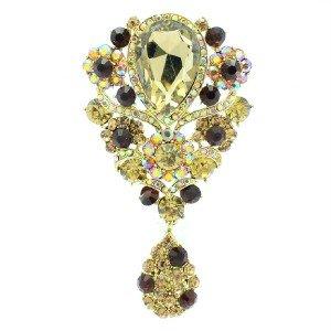 "Vogue Vintage Dangle Flower Brooch Pin 3.8"" Brown Rhinestone Crystals 6024"