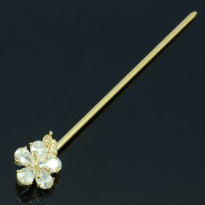 High Quality Leaf Flower Hairpin Hair Stick w/ Swarovski Crystals
